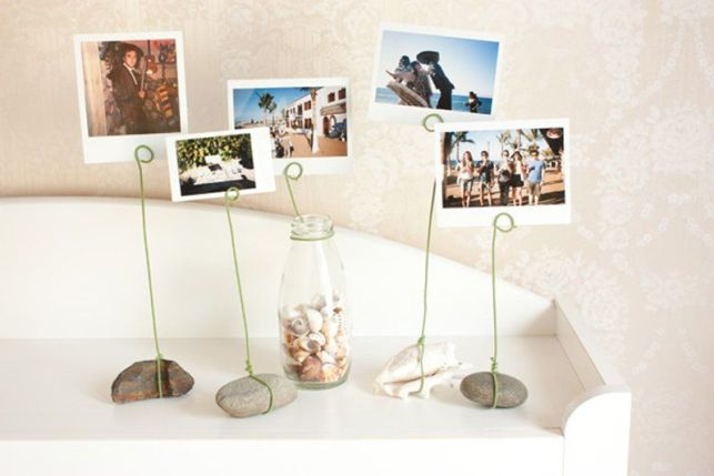 Industrial-Chic Photo Display with Only Wire and Stone - pinterestcom