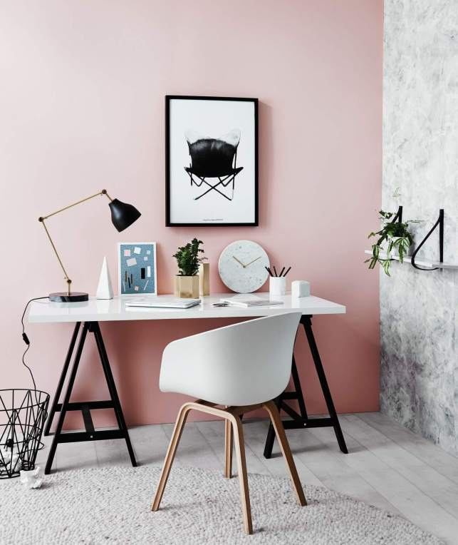 Modern Workspace with Pink Accents - hubstairscom