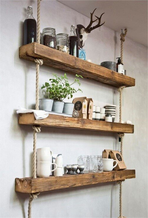 Rustic Floating Shelves with Ropes - 911storiesnet
