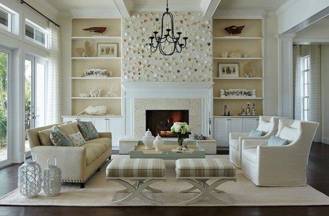 Sea Shells Decor for Fireplace Room Ideas - dreamingincmykcom