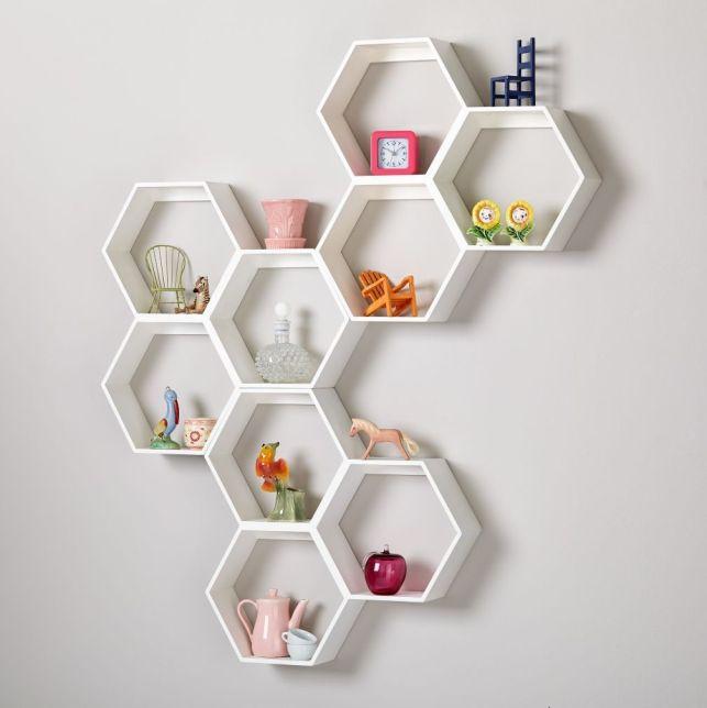 White Hexagonal Shelves Design Ideas - pinterestcom