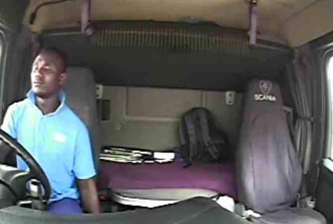Watch   Sleepy driver crashes truck