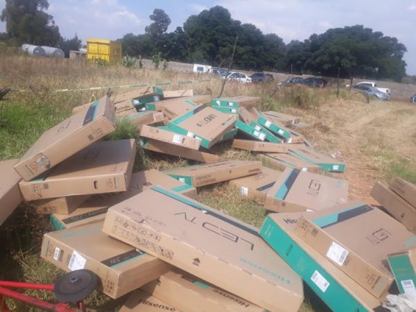 Several stolen TVs recovered as police raid truck hijack gang's depot