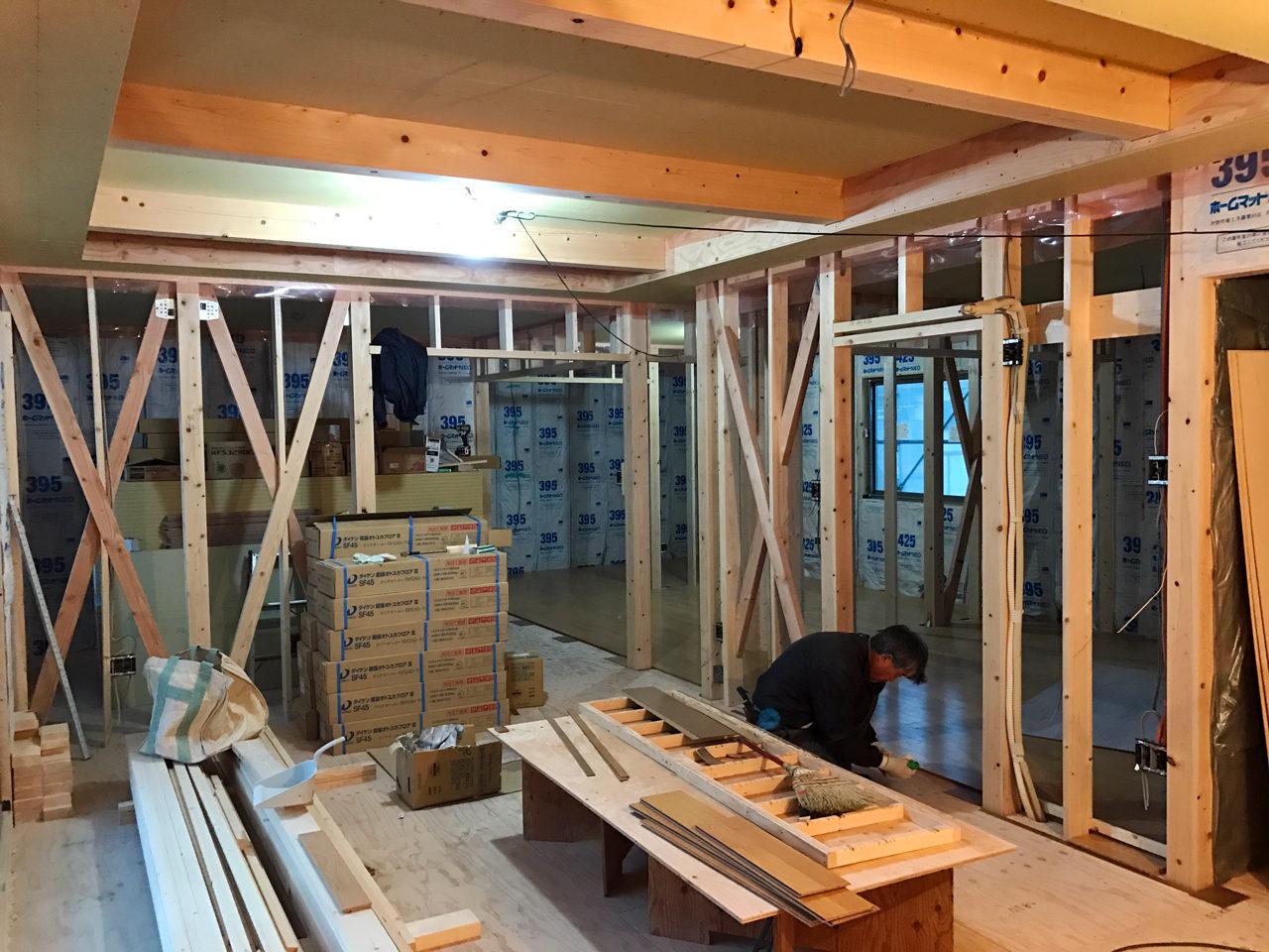 店舗(はり・あん・治療院)付き二世帯住宅のフローリング工事