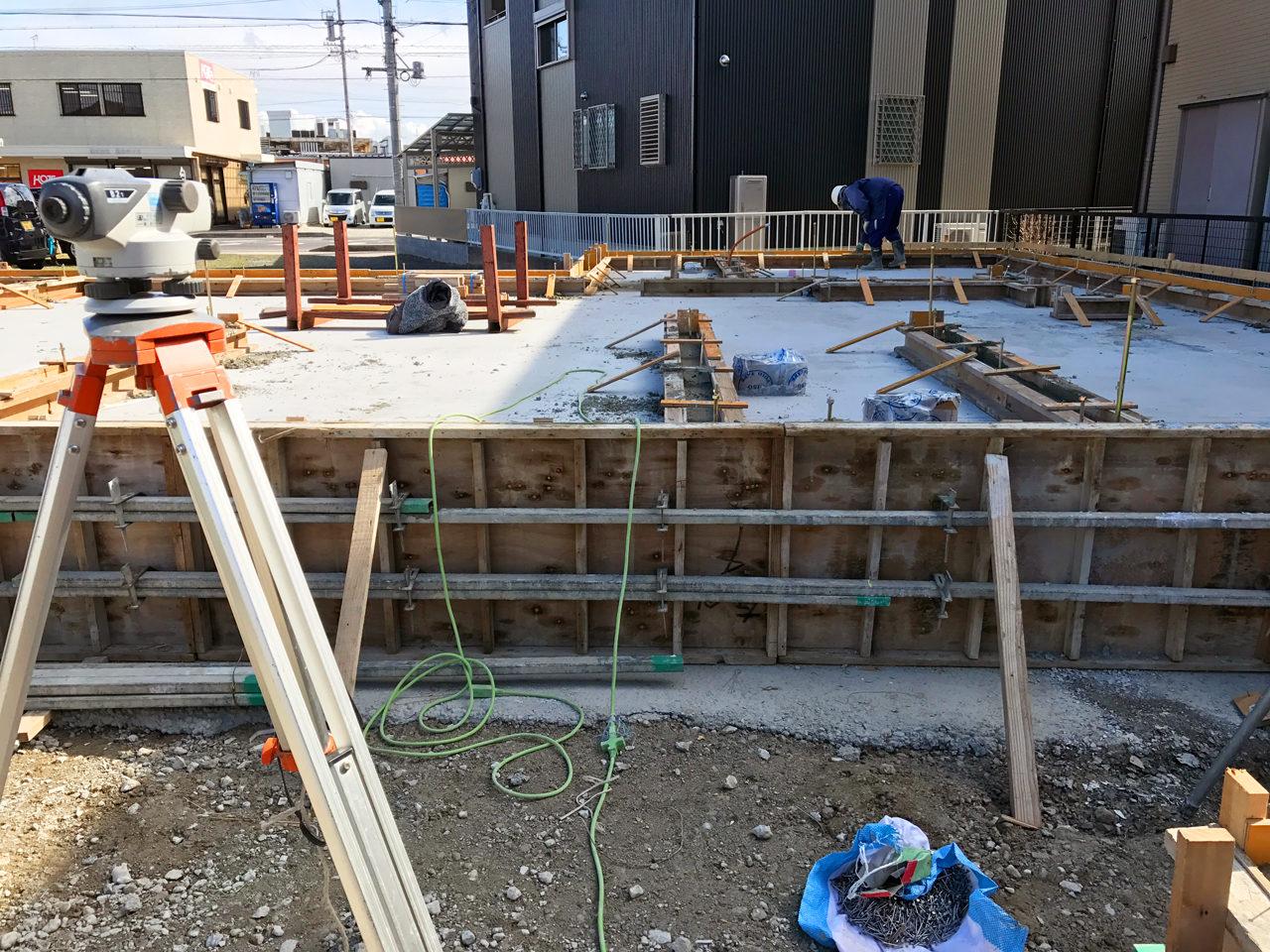 店舗(鍼灸接骨院)付き住宅の基礎コンリート打設後の現場監理