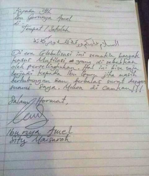 Kisah Ayah Amel Ibu Guru Amel Dan Ibu Amel Lewat Surat Ini