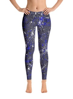 Paint Splatter Leggings – Blue, Black and White