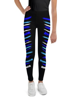 Warrior Stripes – Blues Over Black — Youth Leggings