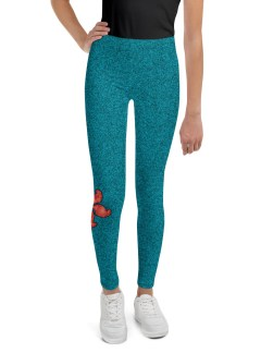 Teal with Coral Flower Youth Leggings