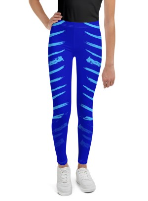 Warrior Stripes – Light Blue Over Blue  — Youth Leggings