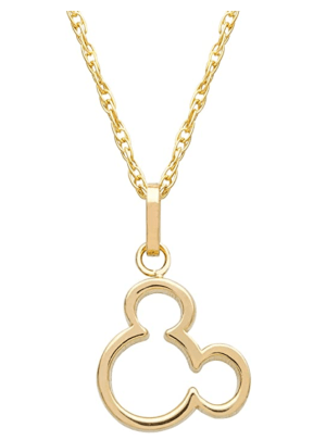 Mickey (or Minnie) Mouse 14K Yellow Gold Pendant Necklace
