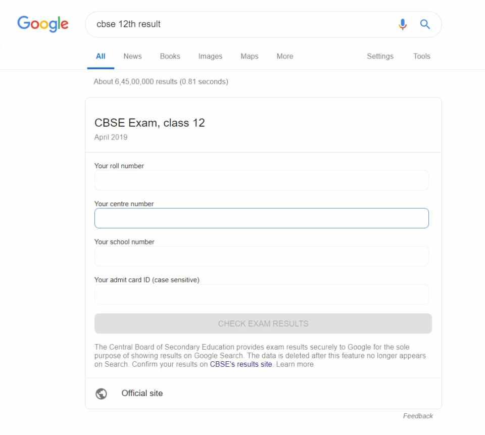 Check CBSE Class 12th Result on Google