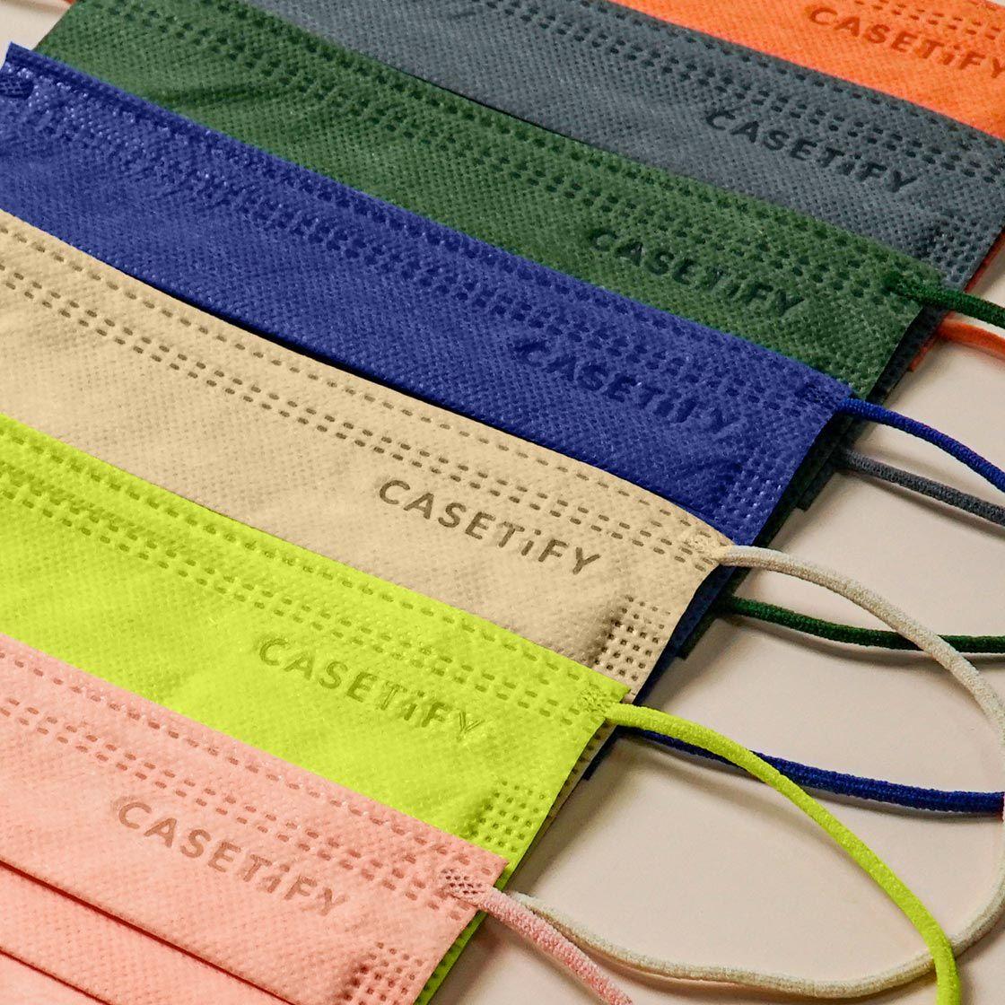 CASETiFY 口罩 ; CASETiFY推出 7 款靚色:米色、三文魚粉、深灰、螢光綠、軍綠、橙色及深藍色,耳繩仲係口罩同色嫁