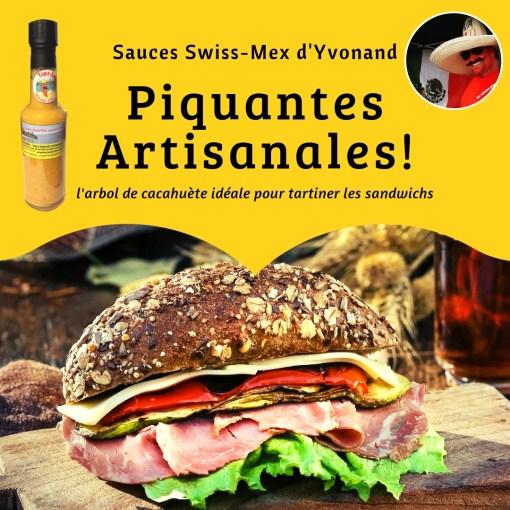 sandwich sauce piquante cacahuète VS moutarde