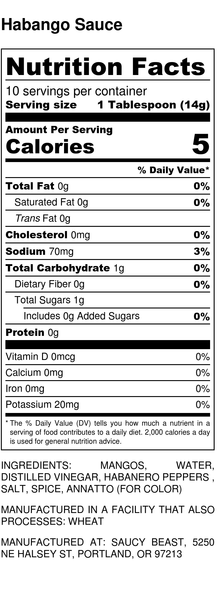 Habango Sauce - Nutrition Label