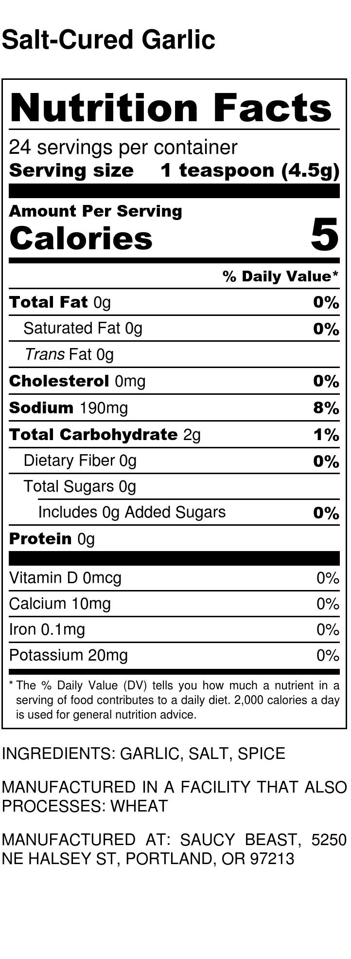 Salt-Cured Garlic - Nutrition Label