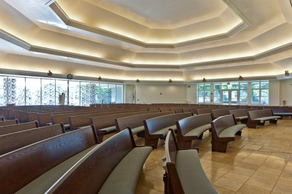St. Raphael's custom radial pews from Sauder Worship