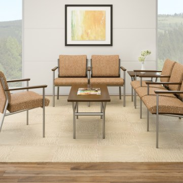 Wieland Trace metal chairs in medical waiting area