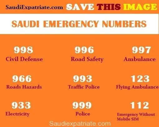 Saudi Arabia Emergency Numbers Helpline Numbers KSA SaudiExpatriate