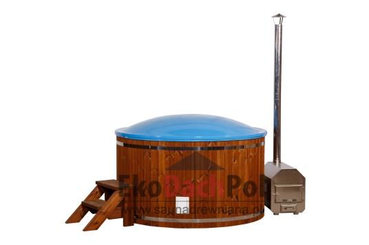 Blue fiberglass hot tub with external heater_3
