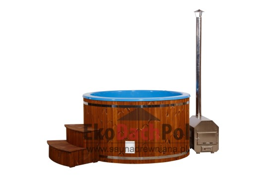 Blue fiberglass hot tub with external heater_4