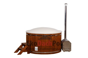 White fiberglass hot tub with external heater_3