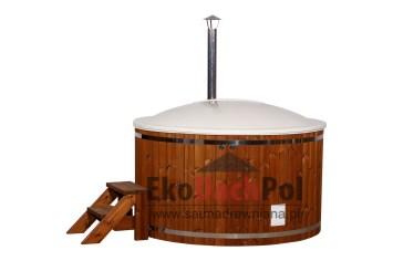White fiberglass hot tub with internal heater_3