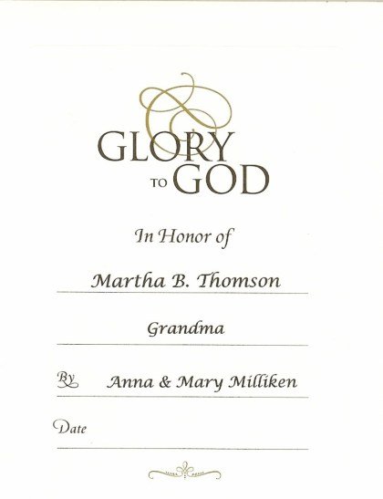 Martha B Thomson Anne Mary Milliken