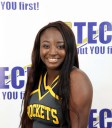 young black girl in cheer uniform