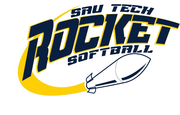 sau tech rocket softball text with rocket