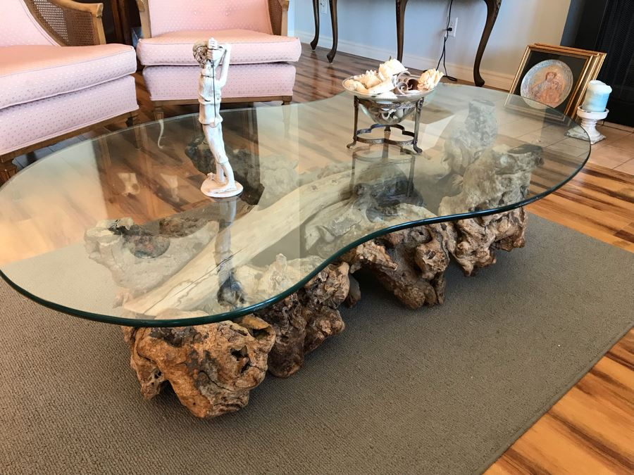 mid century driftwood coffee table with