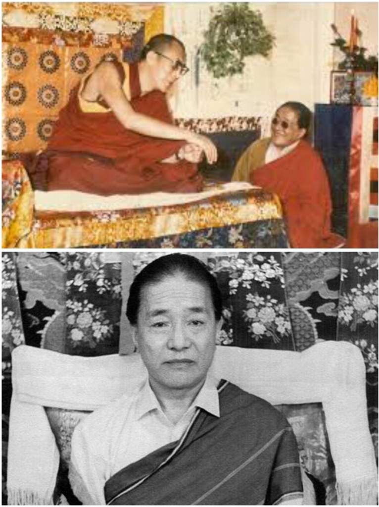 His Holiness the Fourteenth Dalai Lama with prominent ngakpa and first appointed head of the Nyingma school in exile Dudjom Rinpoche (1904-1987)