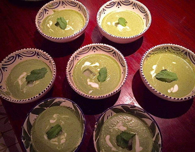 Ottolenghi's Green Gazpacho, served later at a dinner for seven.