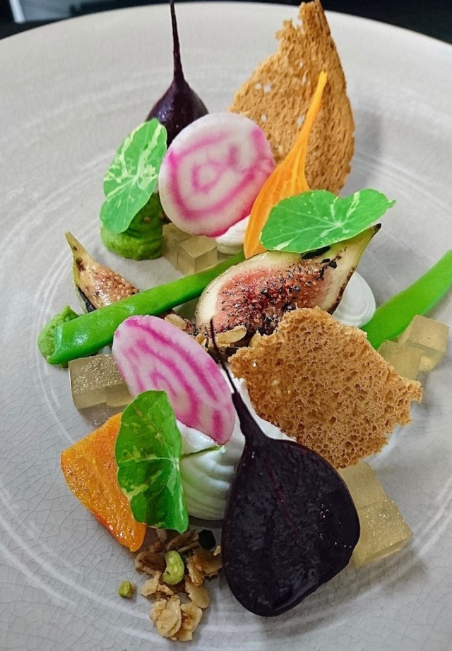 Summer Beetroot Salad with Ewe's Milk Curd, Figs, Truffled Honey, Pistachio Crumbs & Beer Dressing.