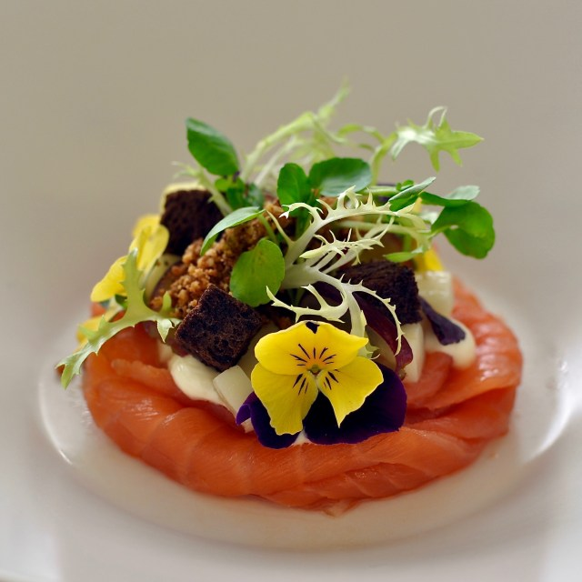 Blue Strawberry/Table Talk's beautifully-adorned smoked salmon appetizer.