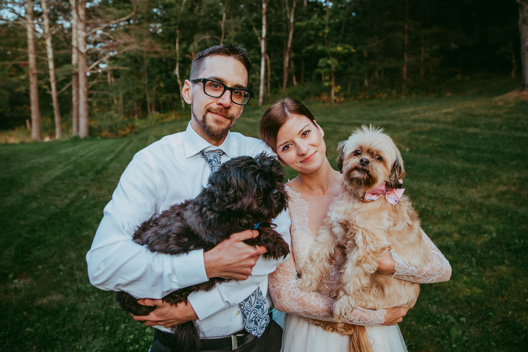 Mt Mansfield Wedding Bride and Groom with Dogs