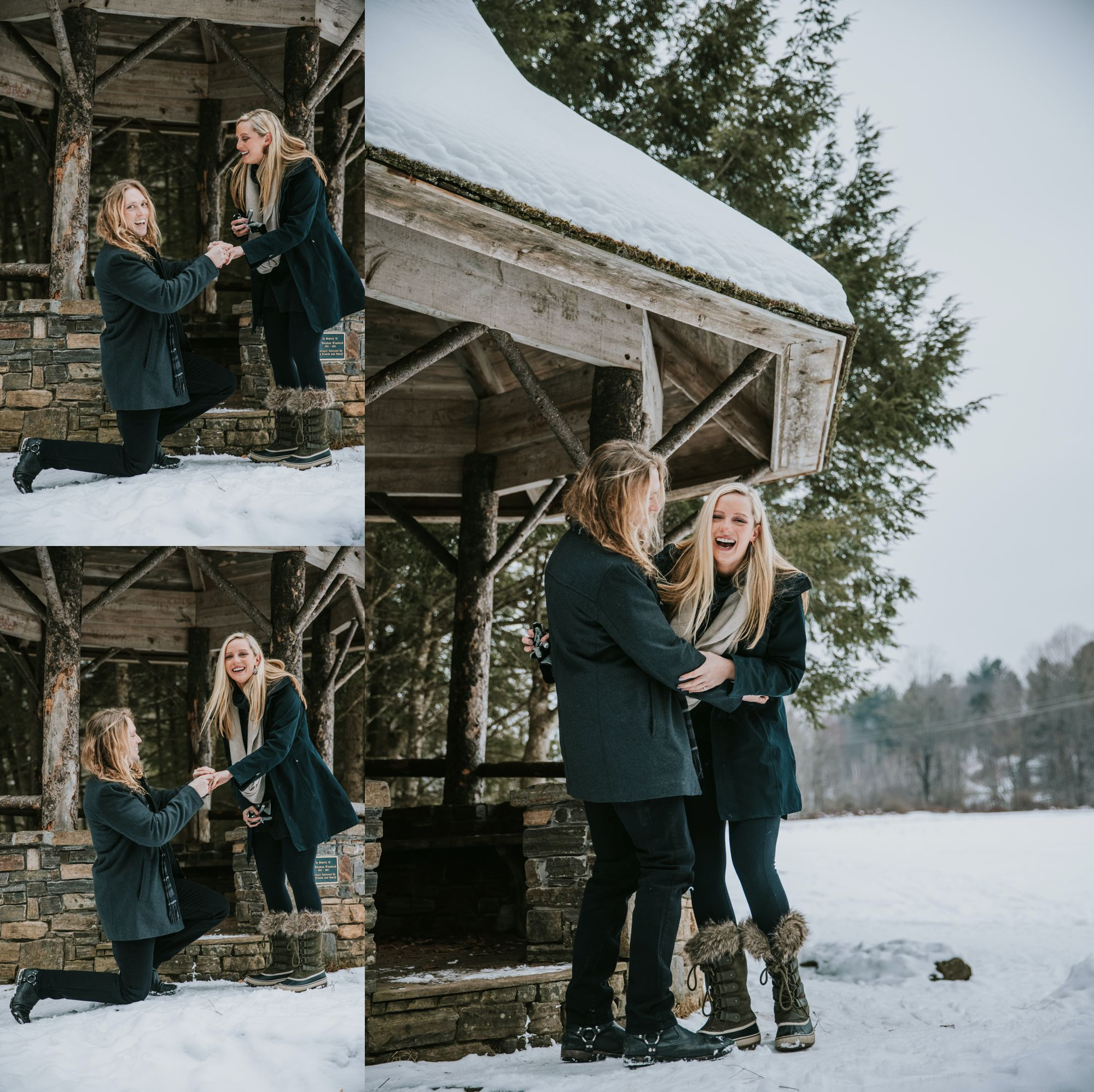 Sleigh Ride Surprise Engagement Happy