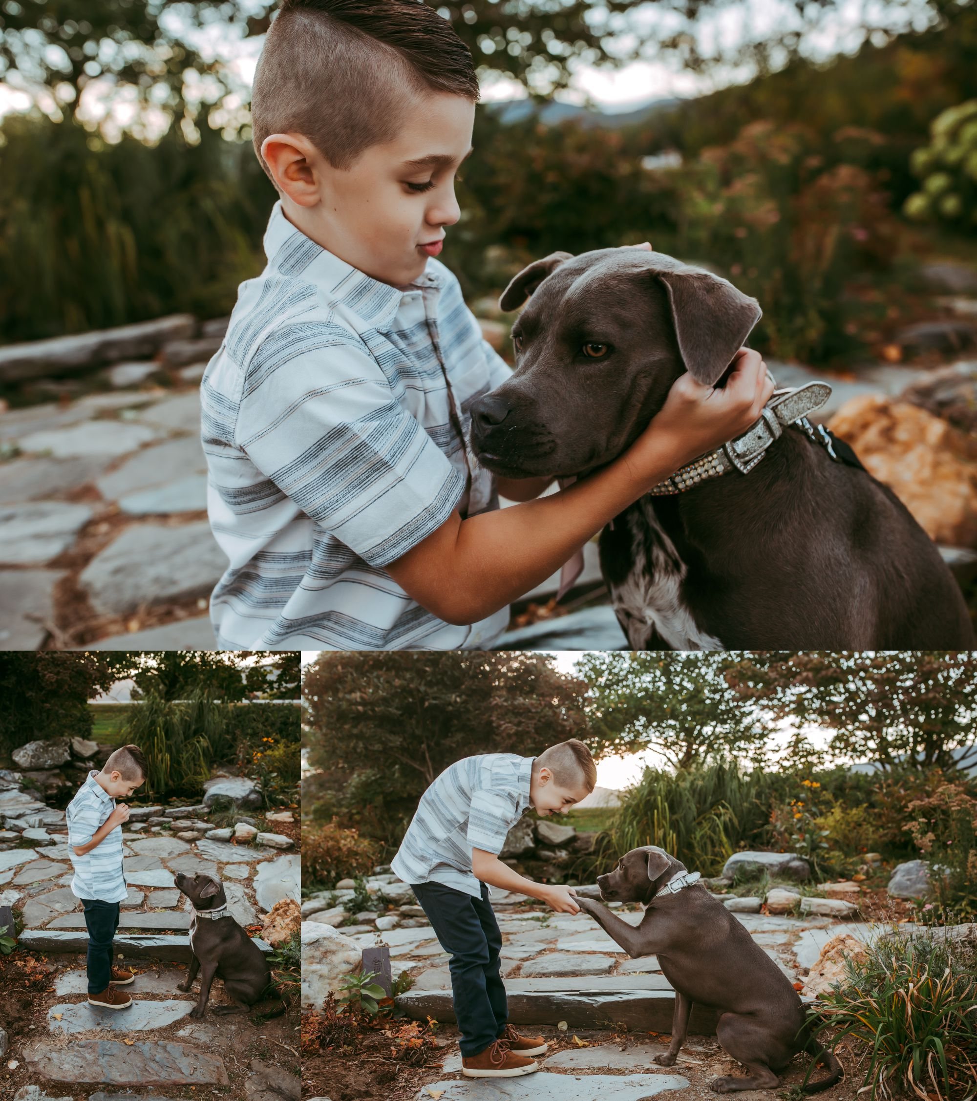 Boy with his dog Trapp Lodge