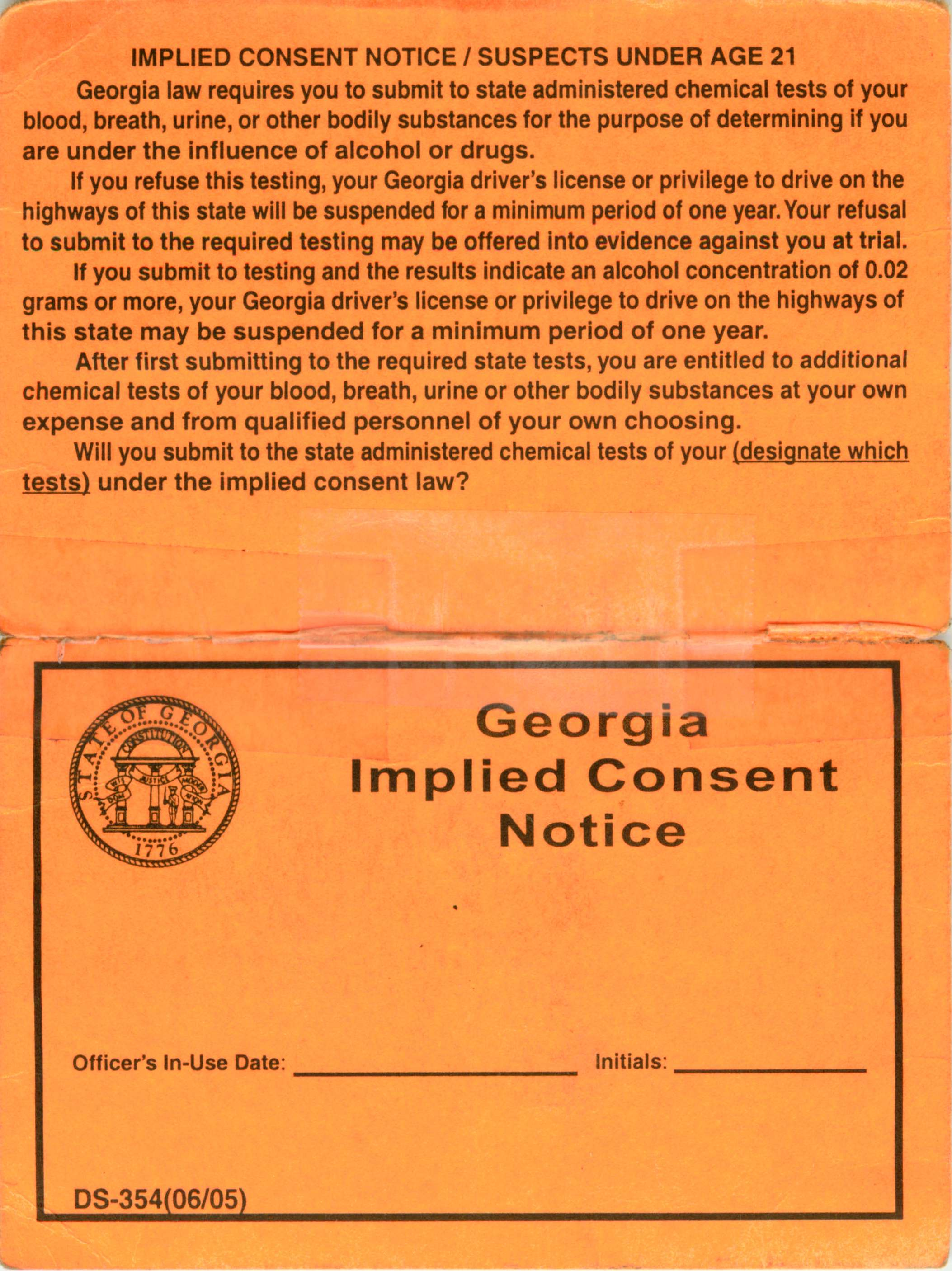 Georgia Implied Consent Notice Front Card