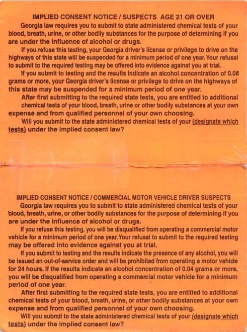 Georgia Implied Consent Notice Inside Card