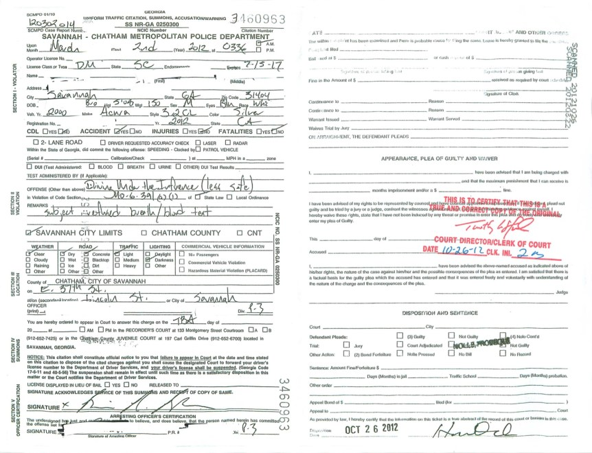 DUI dismissed for Marine - Jason Cerbone Savannah DUI attorney