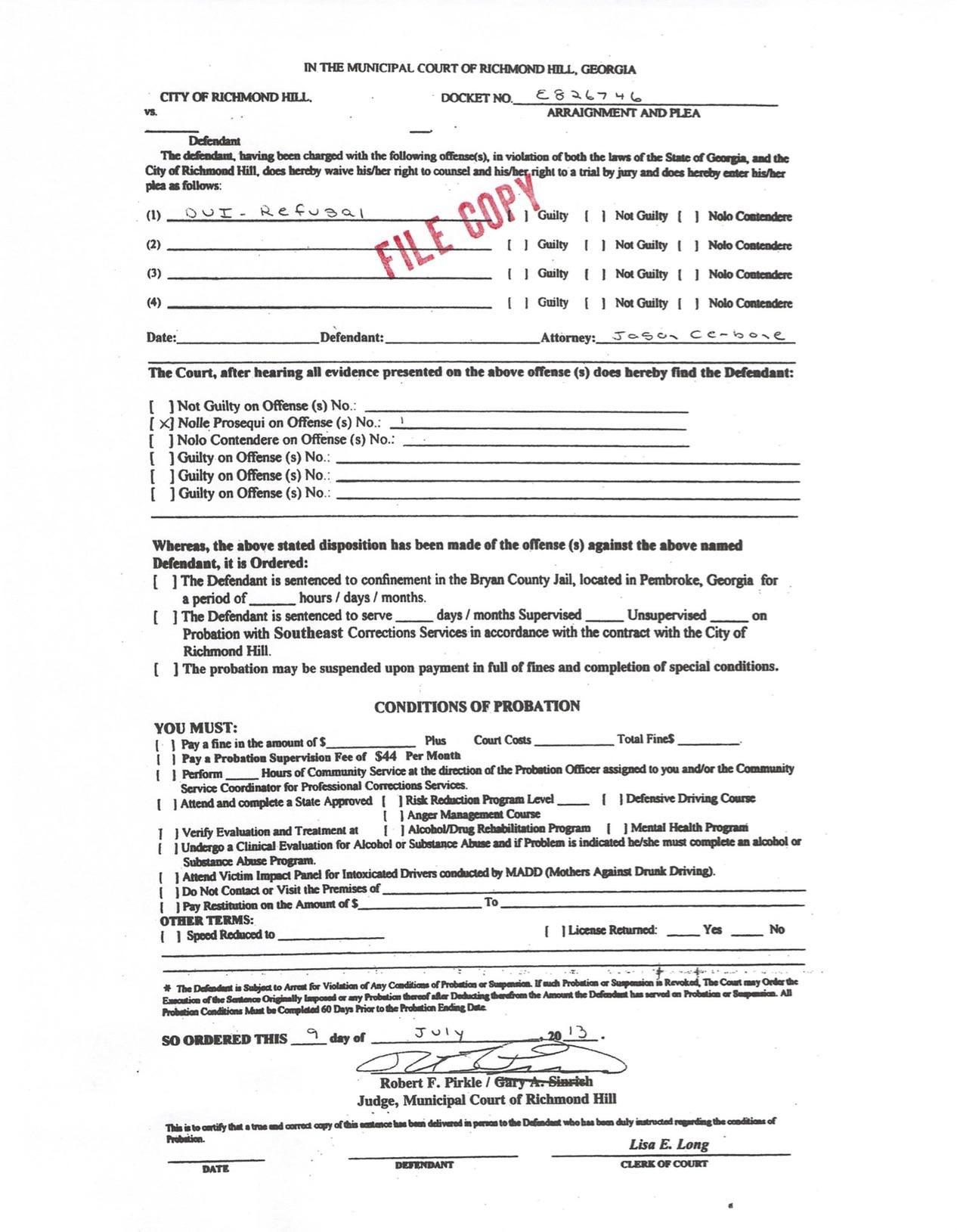 DUI refusal dismissed in Bryan County by Jason Cerbone, DUI lawyer in Savannah, Georgia