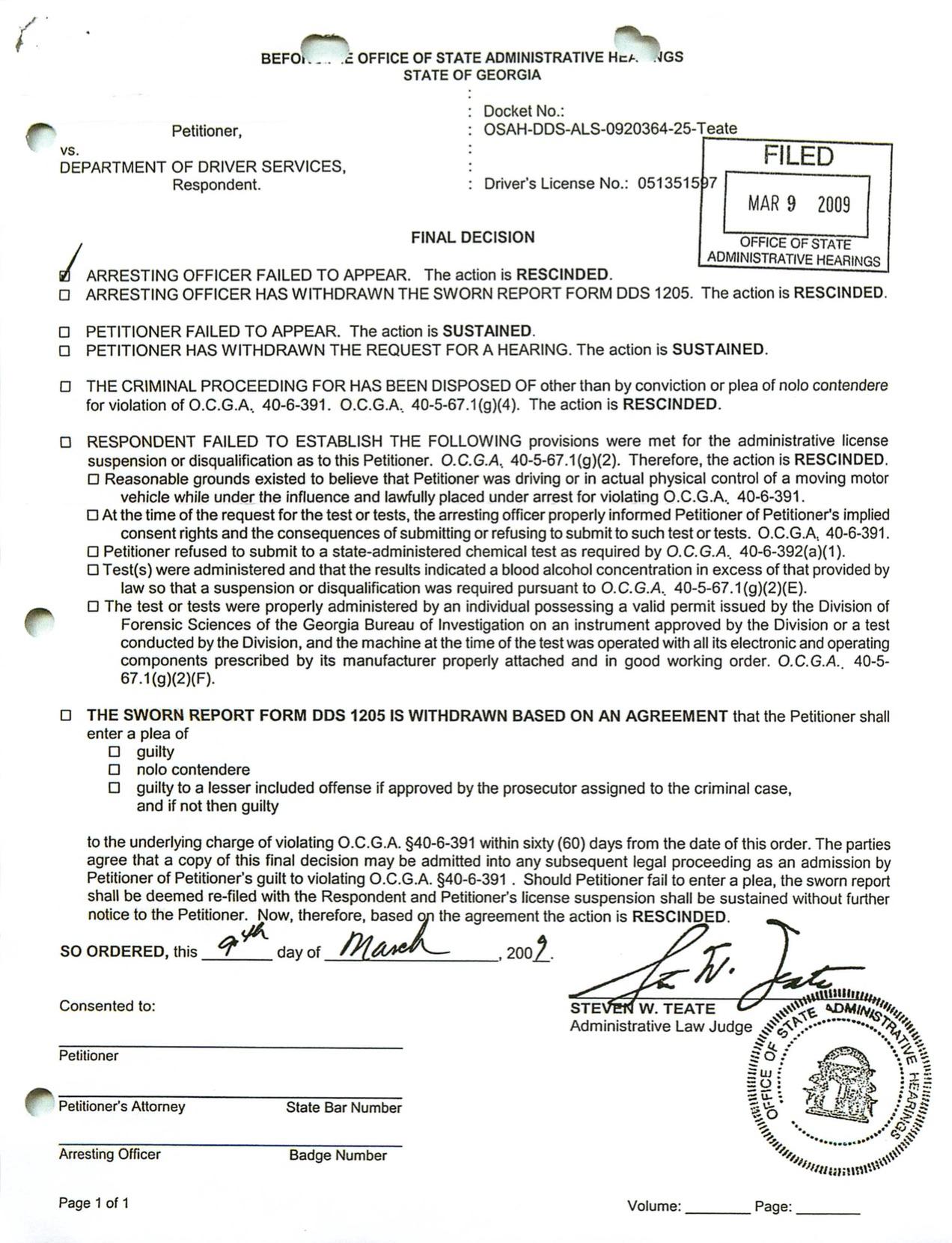 georgia dui license suspension test refusal