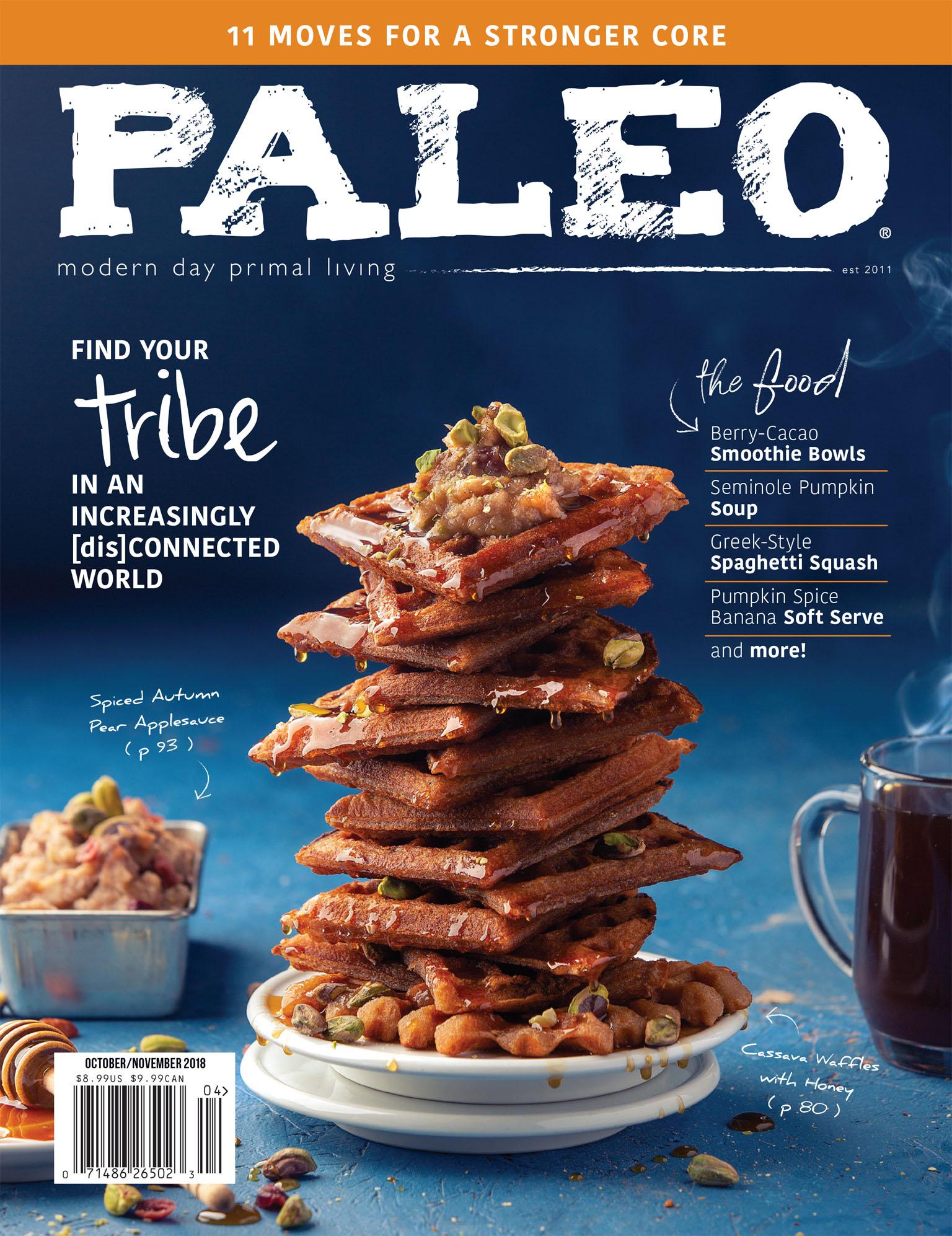 Waffle Stack Food Photography on Handmade Background - Paleo Magazine, October & November