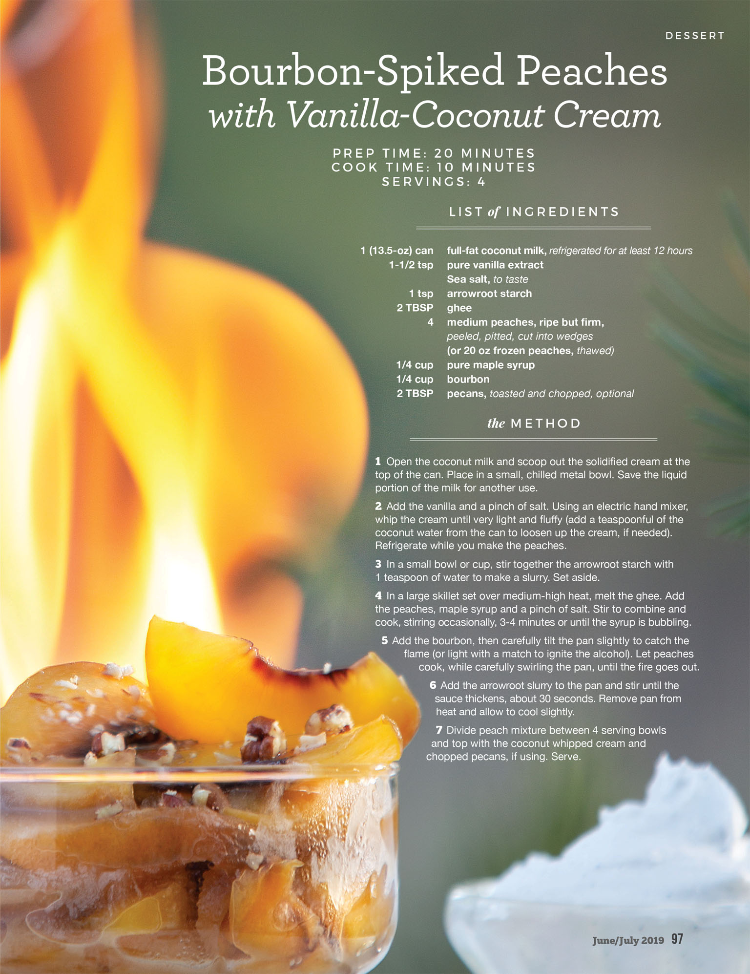 Paleo Bourbon Spiked Peaches with Flame Food Photography