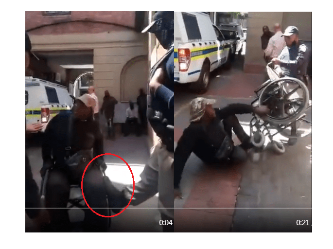 Cape Town Metro Police caught kicking and dragging man on a wheelchair