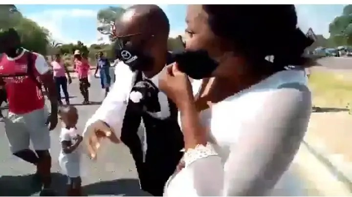 Watch Wedding celebrations ruined as groom's baby mama attacks the newlywed couple