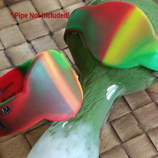 rasta colored silicone bowl wrap(save-a-bowl)
