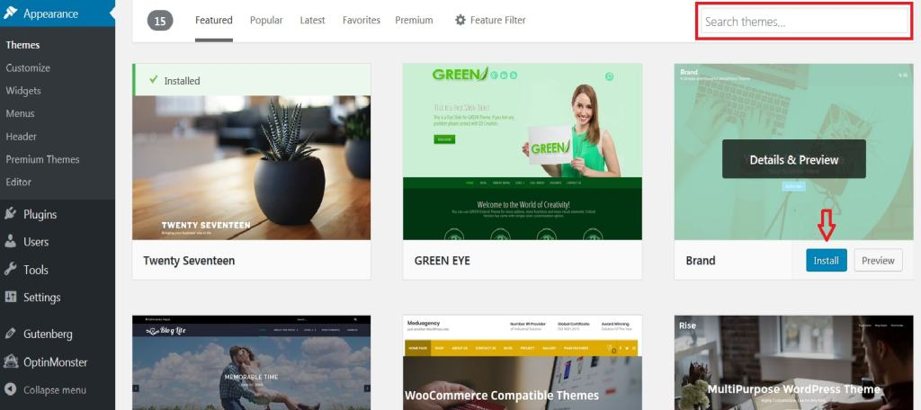 WordPress featured theme preview