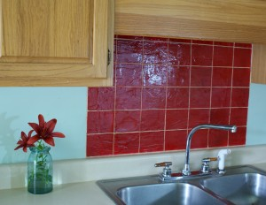 faux tile kitchen backsplash